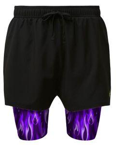 Purple flame men's dual layer shorts