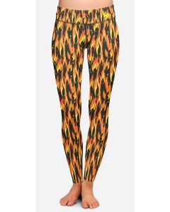 Womens full length running leggings with an orange flame pattern on a black background.