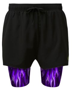 Purple flame men's dual layer shorts