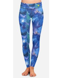 Long leggings with a blue unicorn pattern