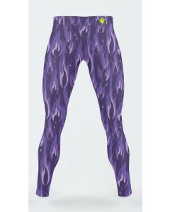 Mens leggings with purple flame pattern