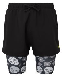 2 in 1 Double Layer Shorts | Black Skulls