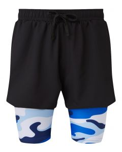 2 in 1 Double Layer Shorts | Blue Camouflage