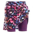 Rainbow leopard print skirt with purple shorts